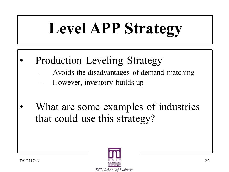 Level APP Strategy Production Leveling Strategy