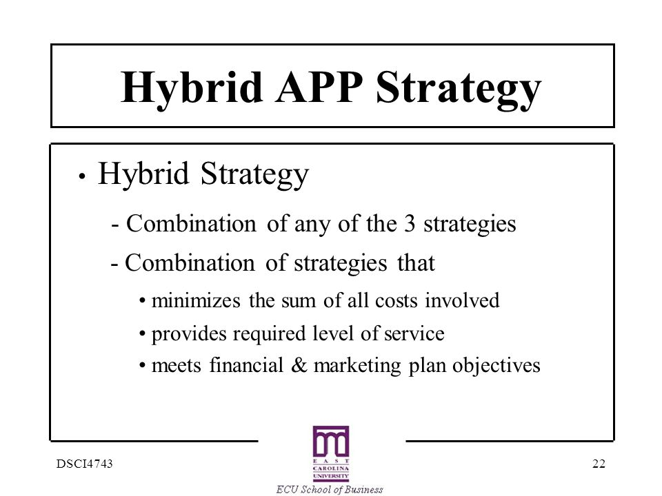 Hybrid APP Strategy - Combination of any of the 3 strategies