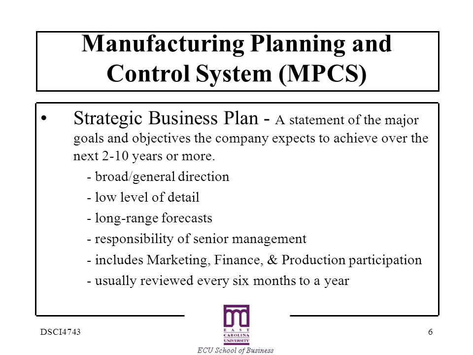 Manufacturing Planning and Control System (MPCS)