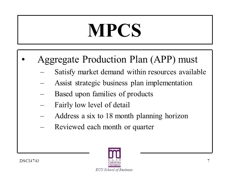 MPCS Aggregate Production Plan (APP) must