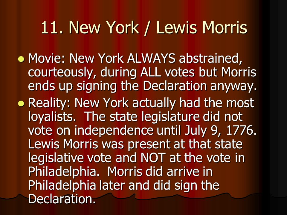 11. New York / Lewis Morris Movie: New York ALWAYS abstrained, courteously, during ALL votes but Morris ends up signing the Declaration anyway.