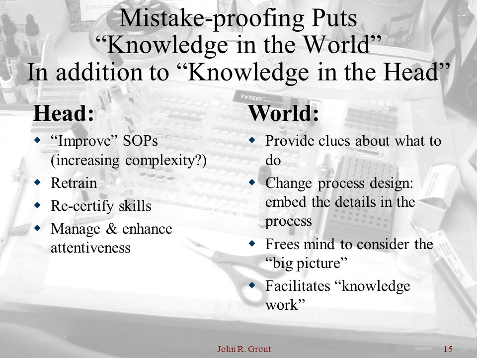 Mistake-proofing Puts Knowledge in the World In addition to Knowledge in the Head