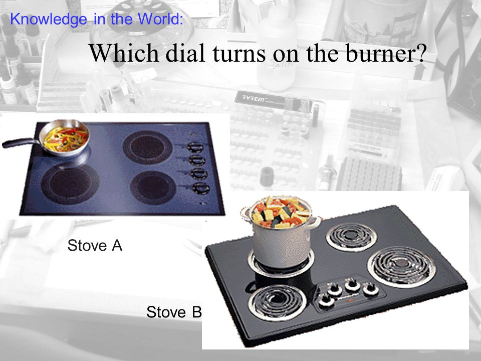 Which dial turns on the burner