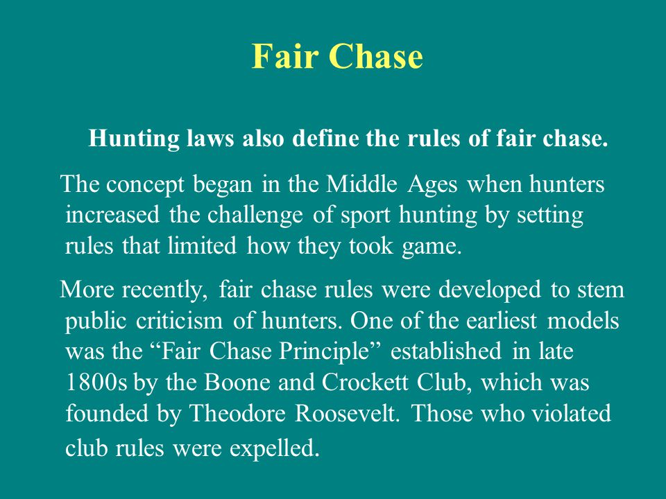 Hunting laws also define the rules of fair chase.