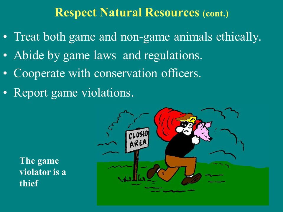 Respect Natural Resources (cont.)