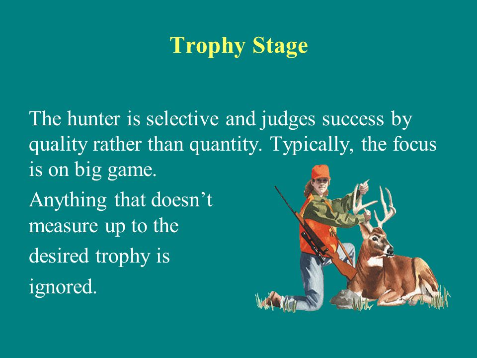 Trophy Stage The hunter is selective and judges success by quality rather than quantity. Typically, the focus is on big game.