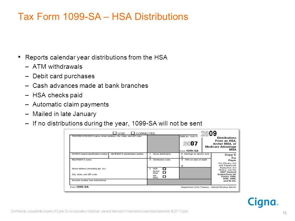 Tax Form 1099-SA – HSA Distributions