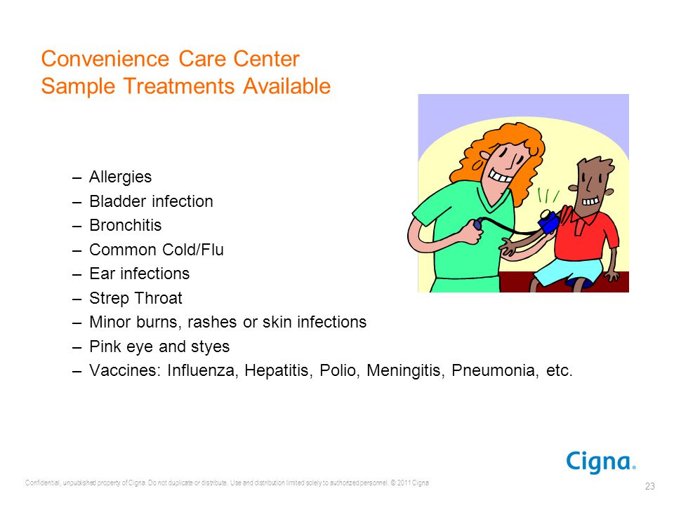 Convenience Care Center Sample Treatments Available