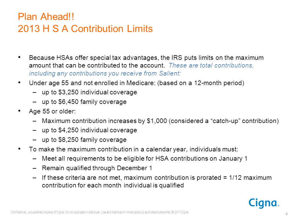 Plan Ahead!! 2013 H S A Contribution Limits