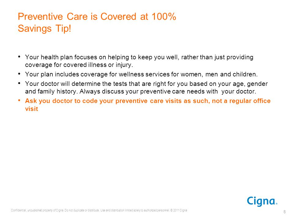 Preventive Care is Covered at 100% Savings Tip!