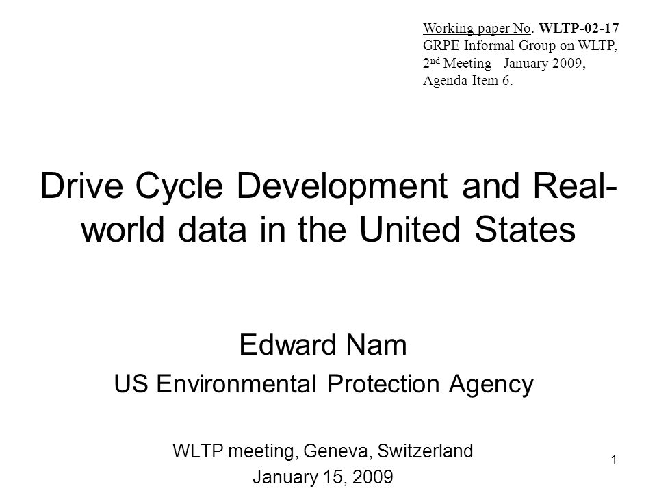 Drive Cycle Development and Real-world data in the United States