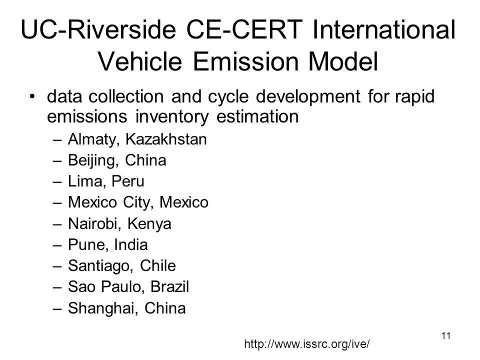 UC-Riverside CE-CERT International Vehicle Emission Model