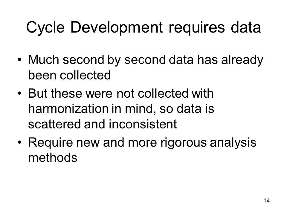 Cycle Development requires data
