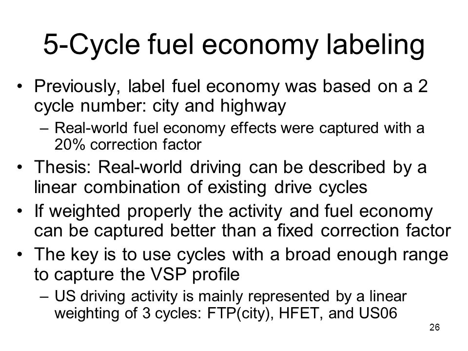 5-Cycle fuel economy labeling