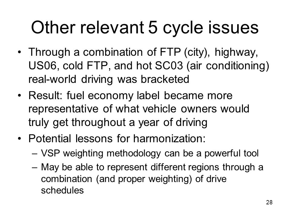 Other relevant 5 cycle issues