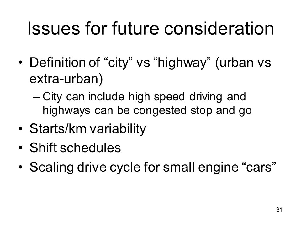 Issues for future consideration