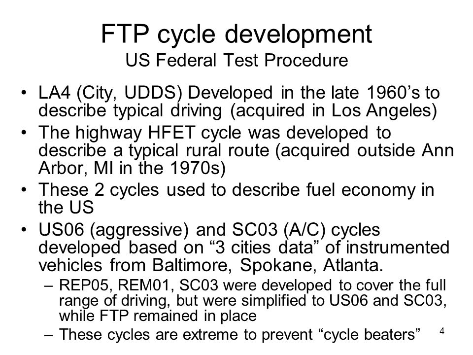 FTP cycle development US Federal Test Procedure