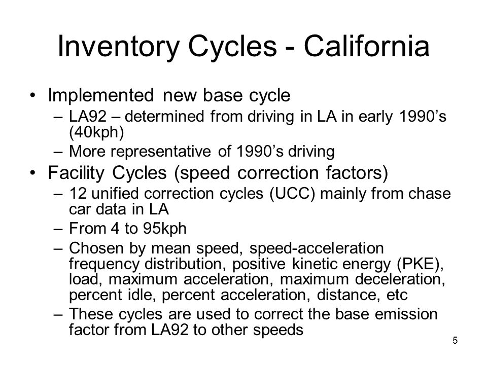 Inventory Cycles - California