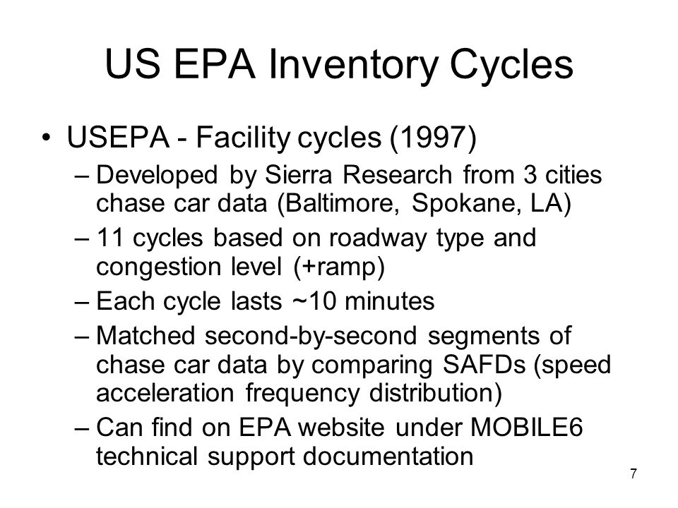 US EPA Inventory Cycles