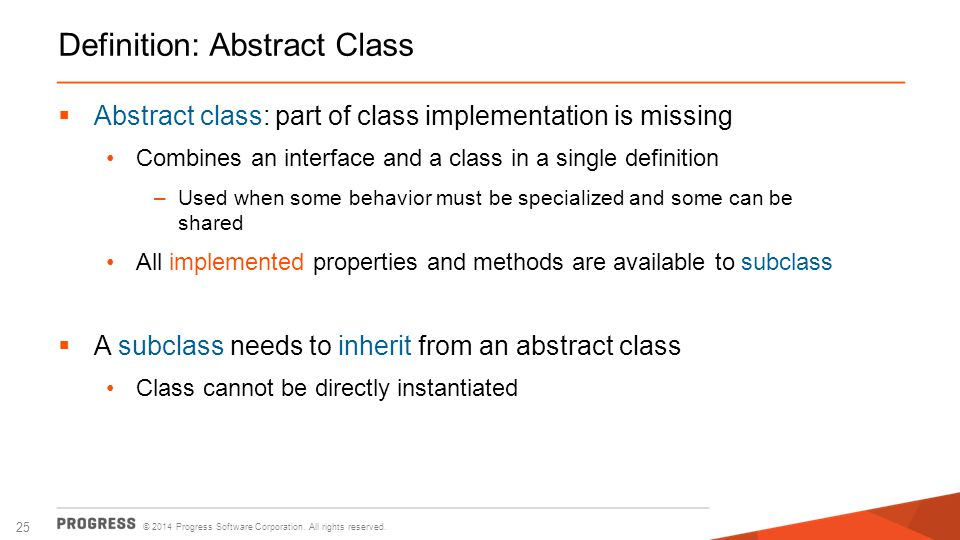 Definition: Abstract Class