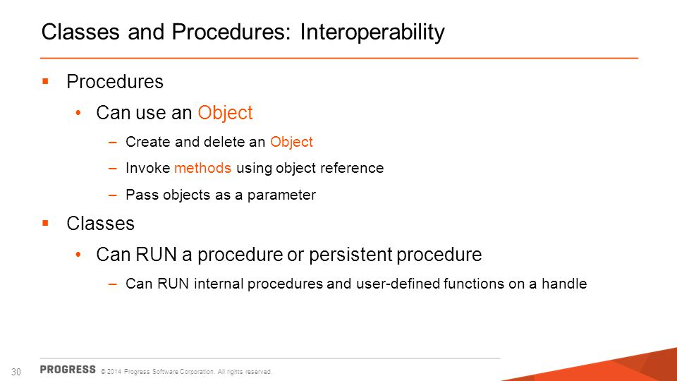 Classes and Procedures: Interoperability