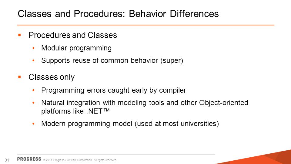 Classes and Procedures: Behavior Differences
