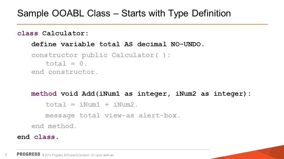 Sample OOABL Class – Starts with Type Definition