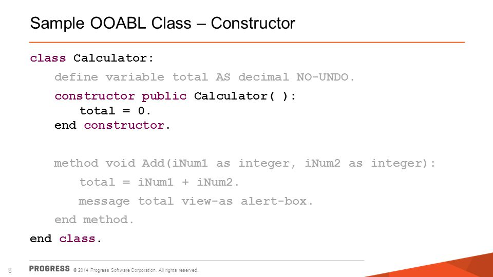 Sample OOABL Class – Constructor