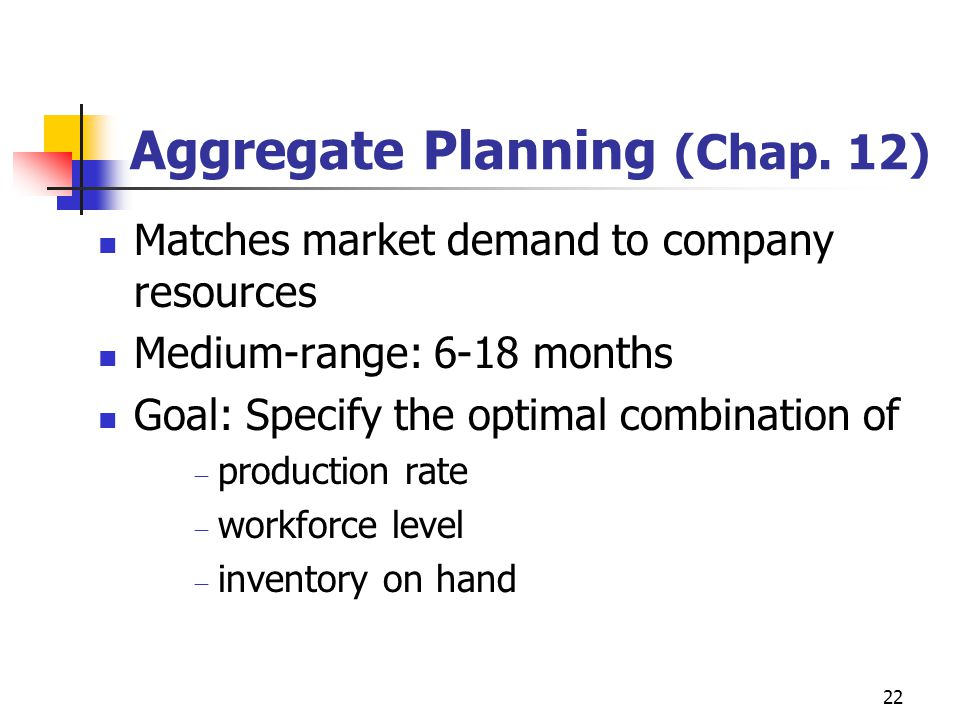 Aggregate Planning (Chap. 12)