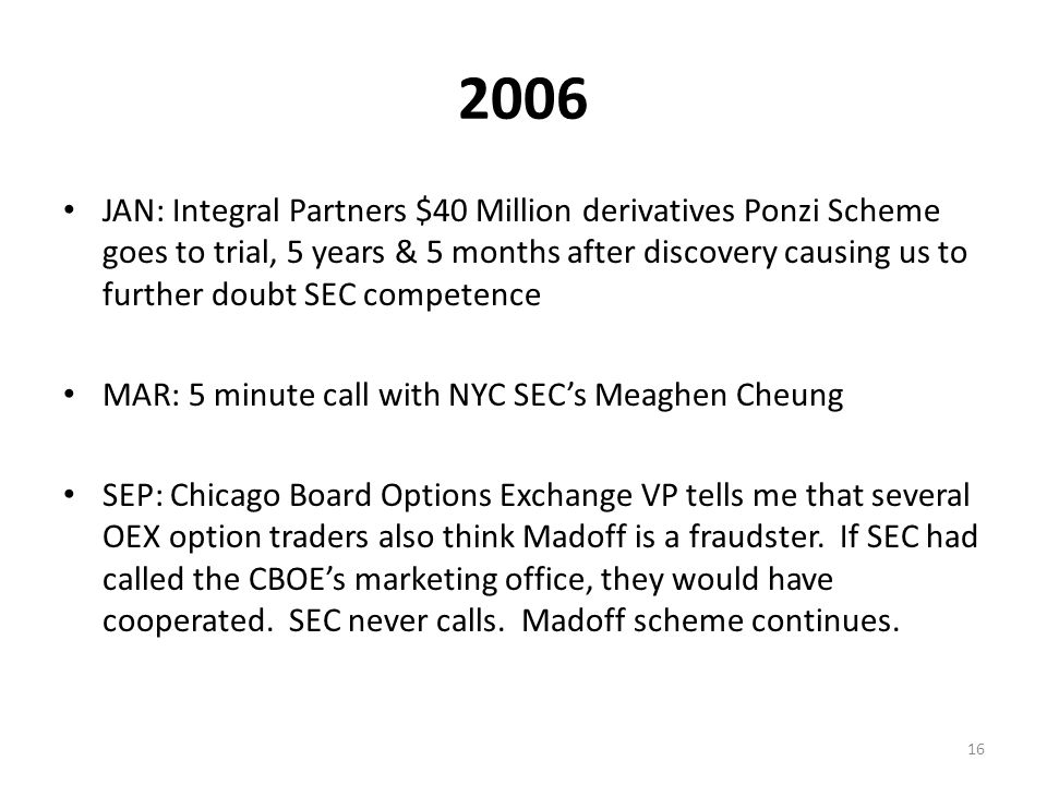2007 FEB 28th: Chelo obtains a Madoff portfolio which shows zero ability to earn a return.