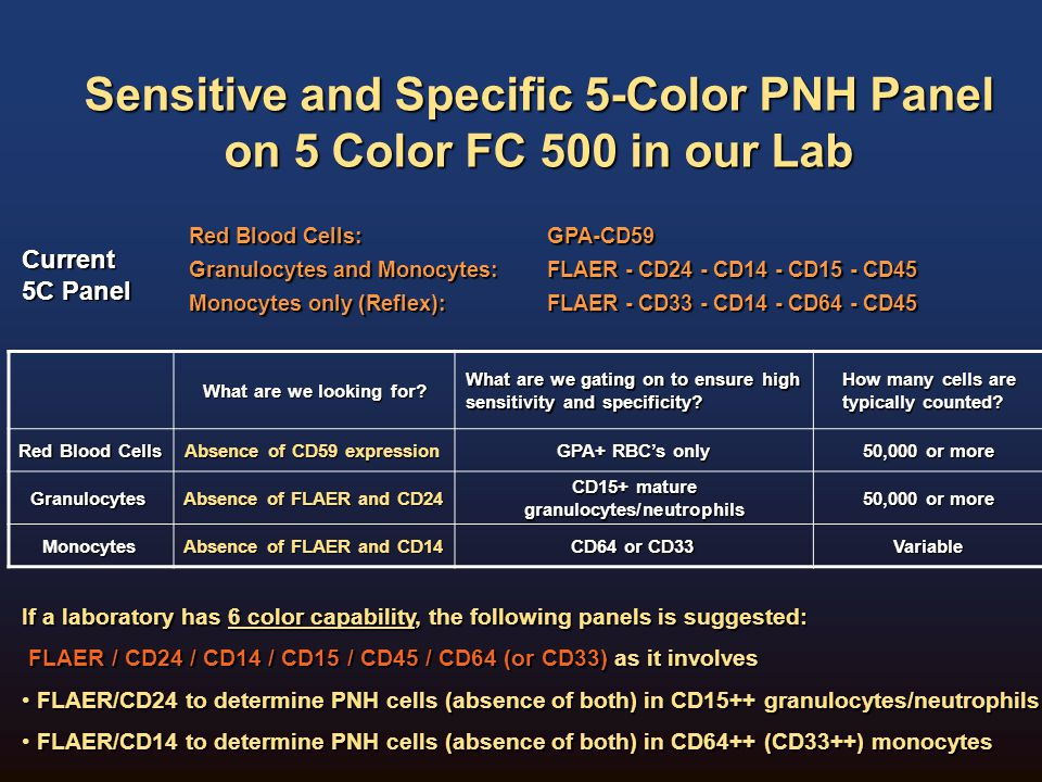 Sensitive and Specific 5-Color PNH Panel on 5 Color FC 500 in our Lab