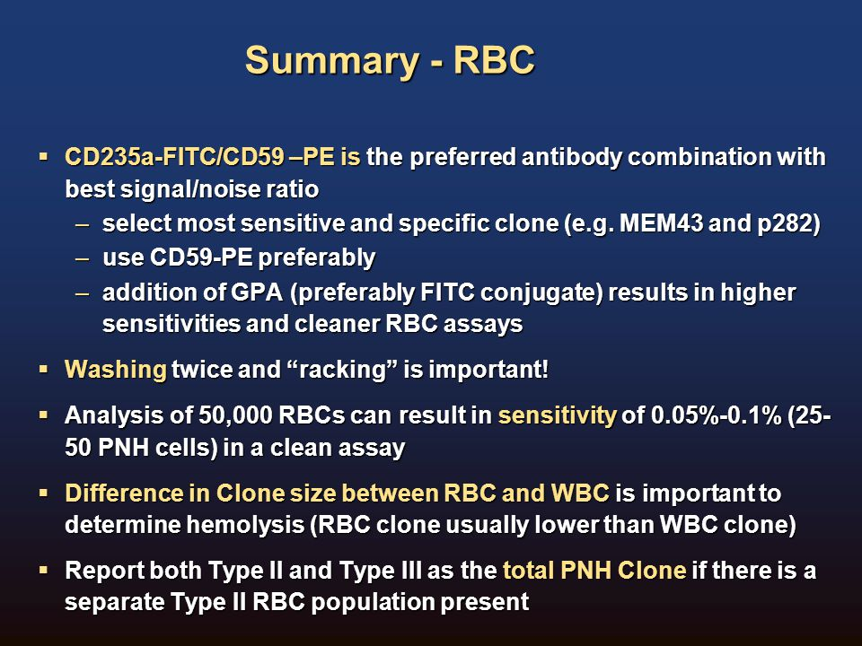 Summary - RBC CD235a-FITC/CD59 –PE is the preferred antibody combination with best signal/noise ratio.