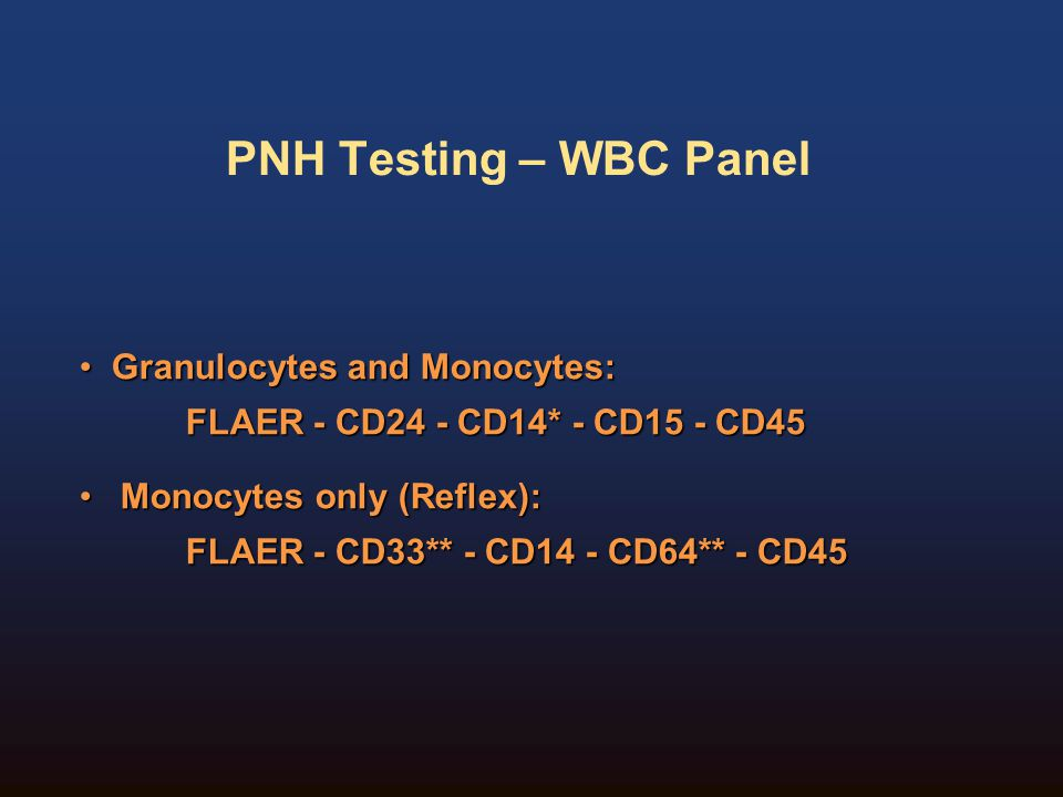 PNH Testing – WBC Panel Granulocytes and Monocytes: