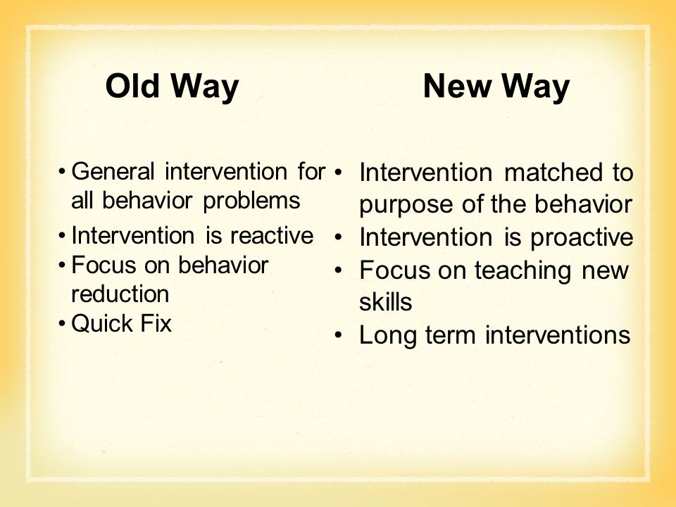 Old Way New Way Intervention matched to purpose of the behavior