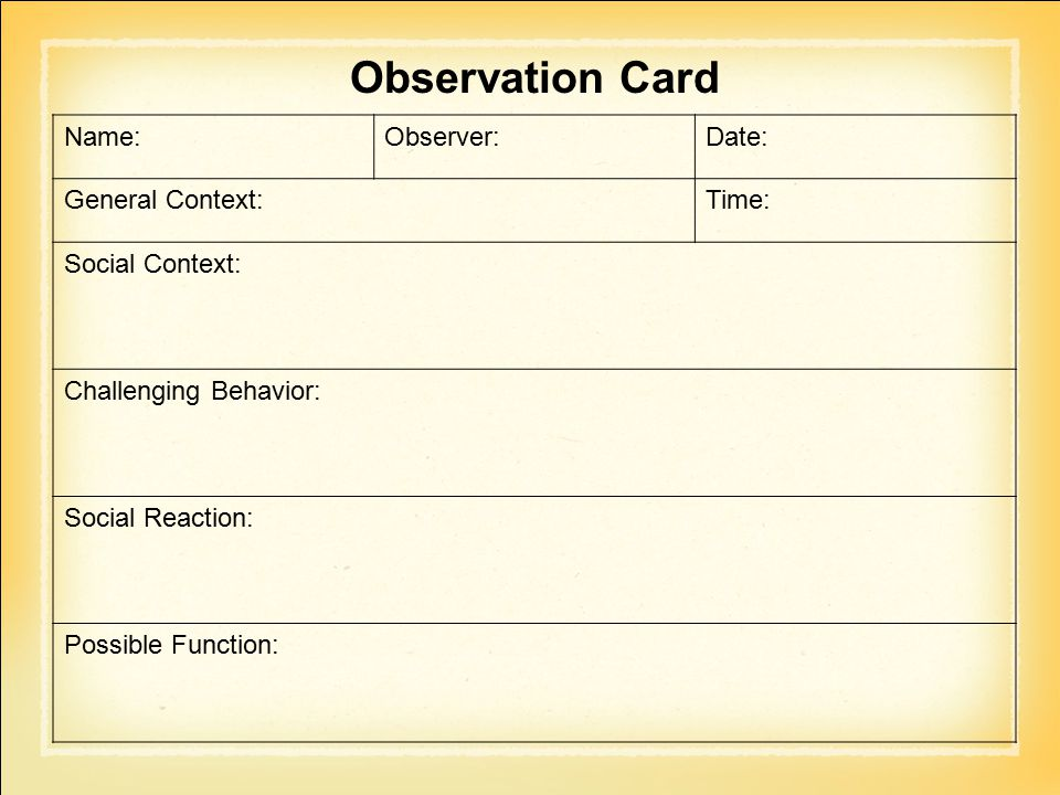 Observation Card Name: Observer: Date: General Context: Time: