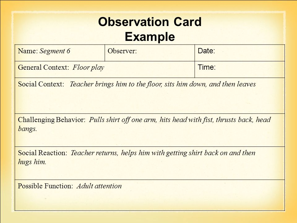 Observation Card Example