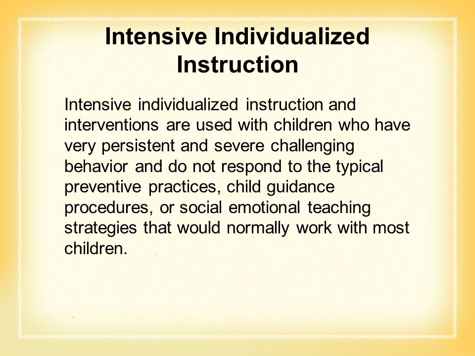 Intensive Individualized Instruction