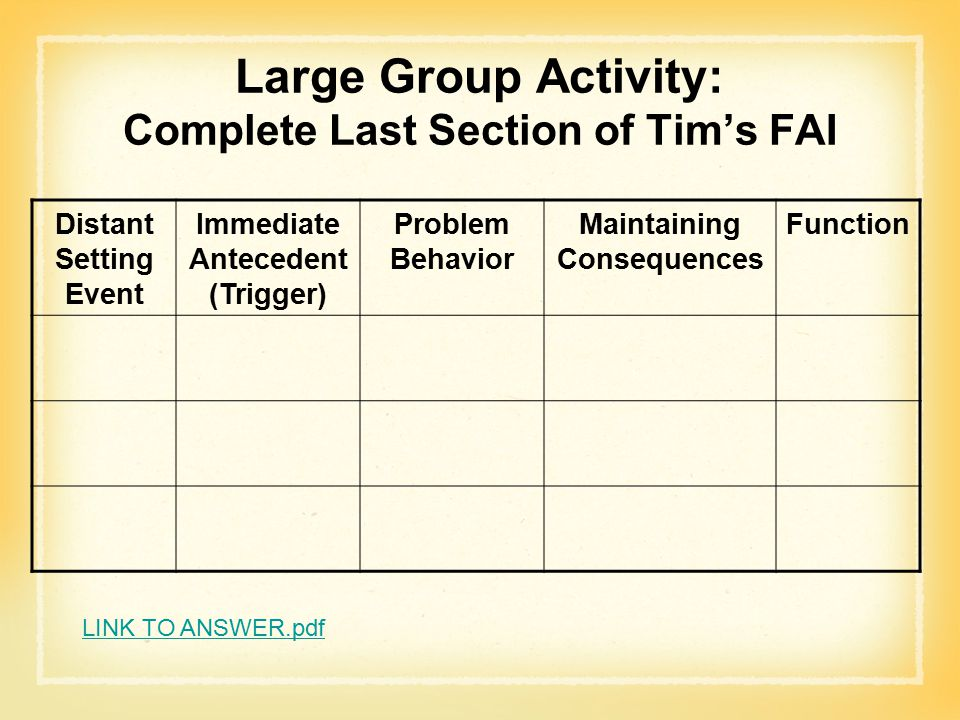Large Group Activity: Complete Last Section of Tim's FAI