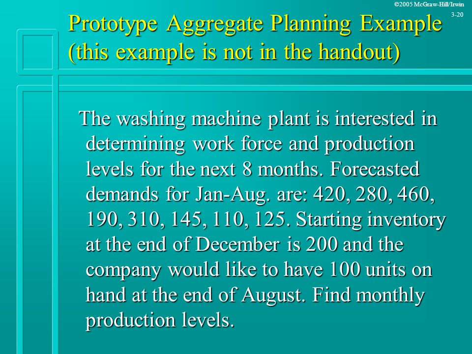 Prototype Aggregate Planning Example (this example is not in the handout)