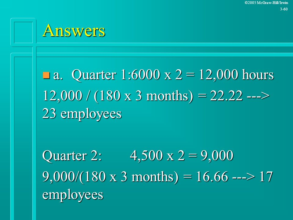 Answers a. Quarter 1:6000 x 2 = 12,000 hours