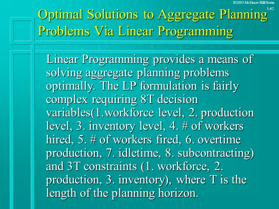 Optimal Solutions to Aggregate Planning Problems Via Linear Programming