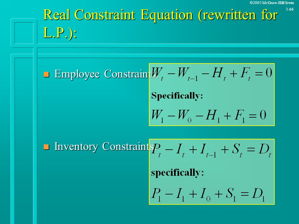 Real Constraint Equation (rewritten for L.P.):