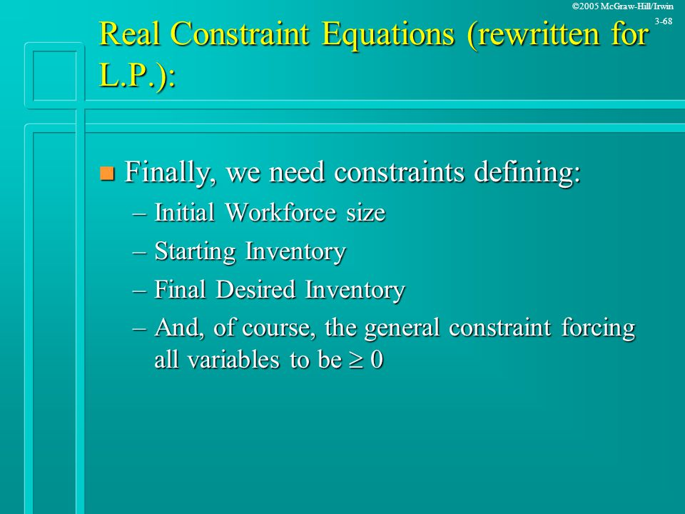 Real Constraint Equations (rewritten for L.P.):