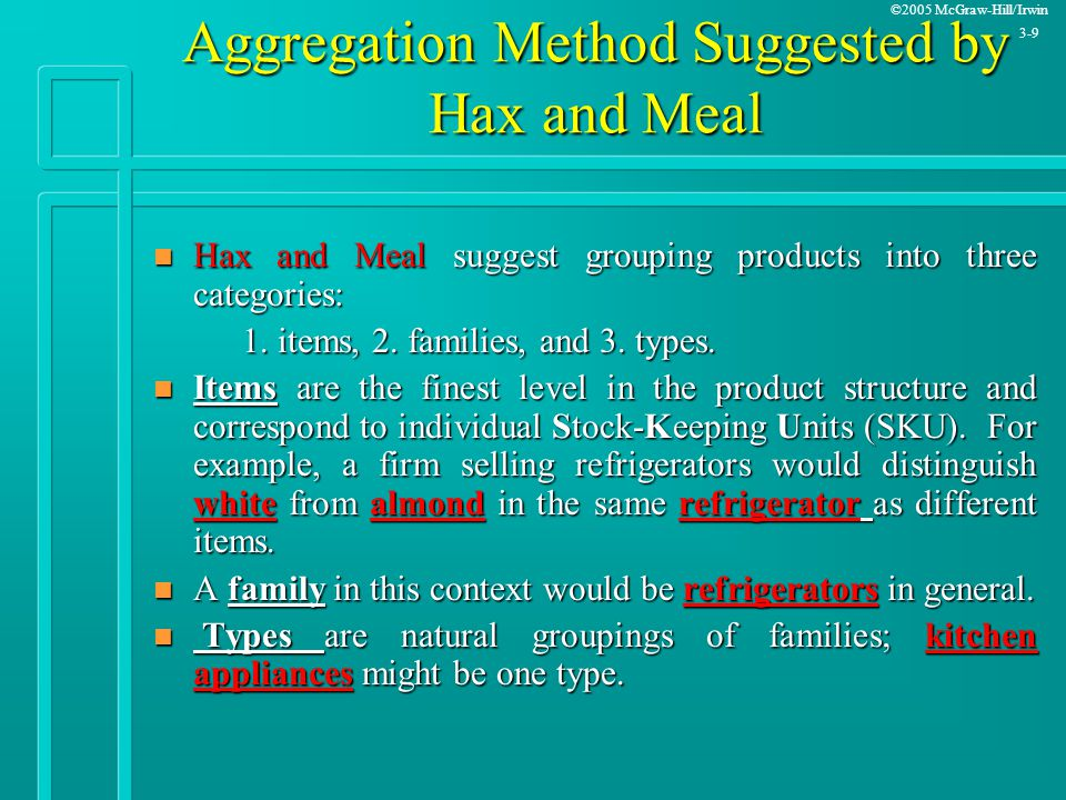 Aggregation Method Suggested by Hax and Meal