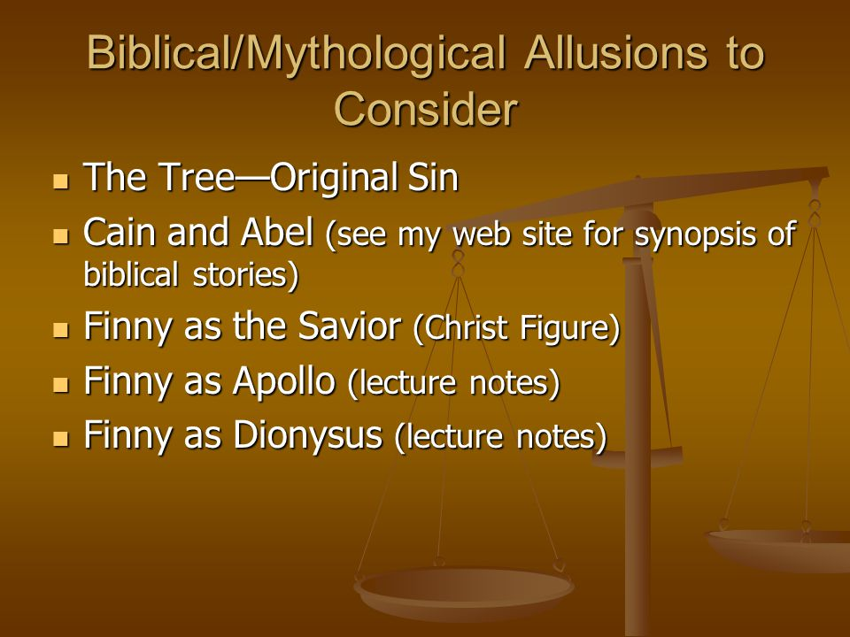 Biblical/Mythological Allusions to Consider