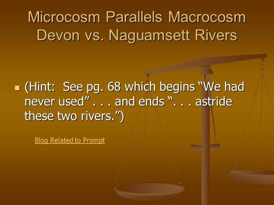 Microcosm Parallels Macrocosm Devon vs. Naguamsett Rivers