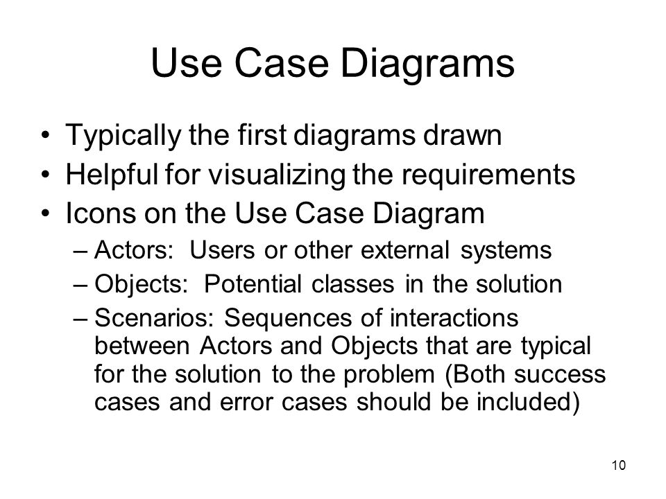 Use Case Diagrams Typically the first diagrams drawn