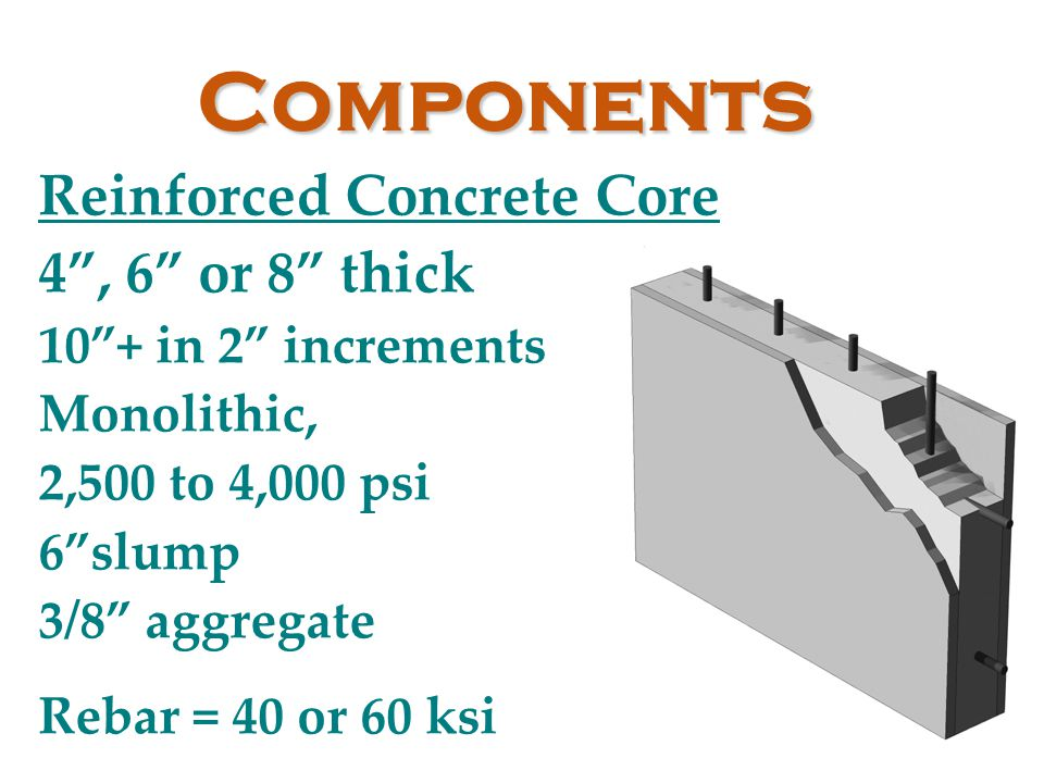 Components Reinforced Concrete Core 4 , 6 or 8 thick