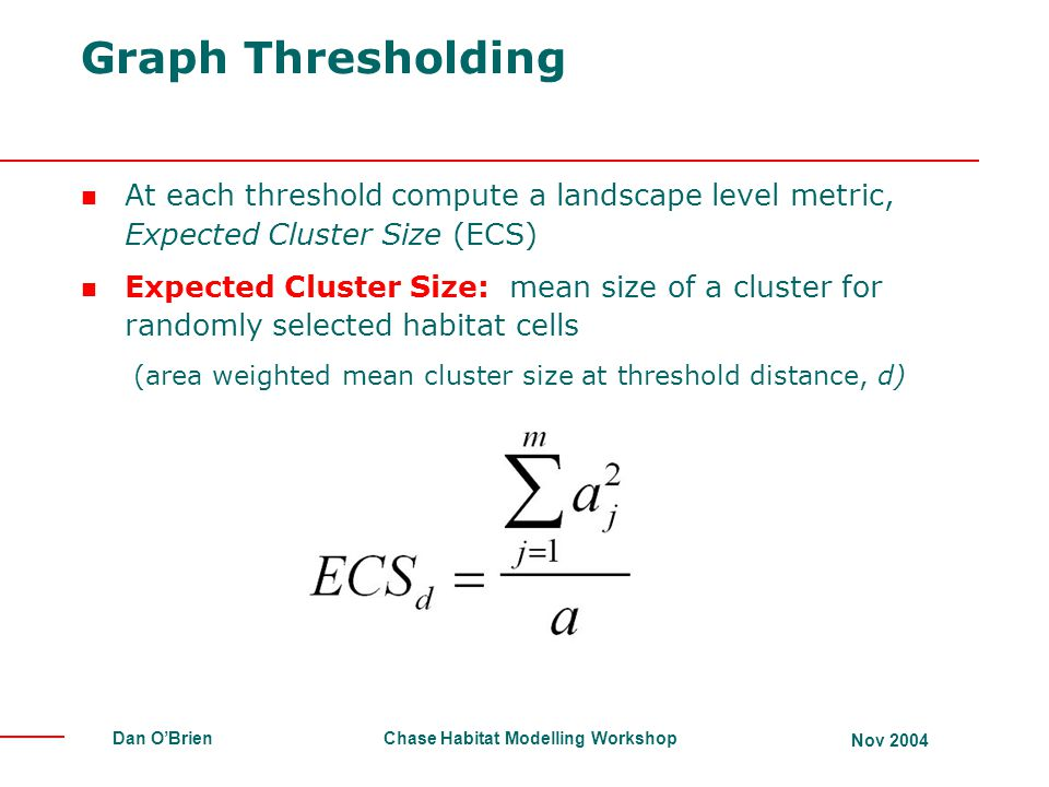 Graph Thresholding At each threshold compute a landscape level metric, Expected Cluster Size (ECS)