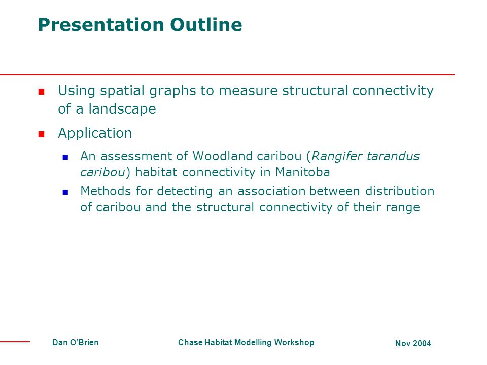 Presentation Outline Using spatial graphs to measure structural connectivity of a landscape. Application.